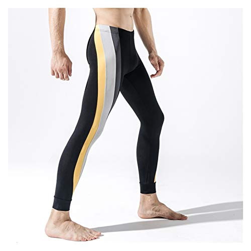 SADDPA Deportes Hombres de los Pantalones Calientes Pantalones de poliéster Individual Delgado otoño Aptitud Pantalones Caliente Hombres Johns Largo (Color : Black, Size : XL)