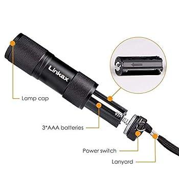 Linkax Lampe Torche UV LED Lampe de Poche Lumière Noire 395nm Lumière Ultraviolet Détecteur d'urine et Tache d'animaux pour traceurs fluorescents tapis(2 Pièces)