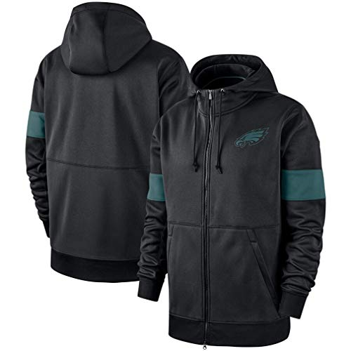 FMSports Men's Long Sleeve Hooded 3D Print NFL Football Team Pullover Hoodies,Philadelphia Eagles Sweatshirt Pullover Zip Hoodies,XXXL~190~195CM