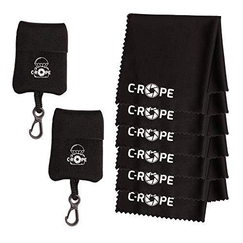 C-Rope Mikrofaser-Reinigungstuch (2-Pack) im Aufbewahrungsbeutel (6-Pack) für Kamera, Objektiv, Laptop als Putztuch, schwarz