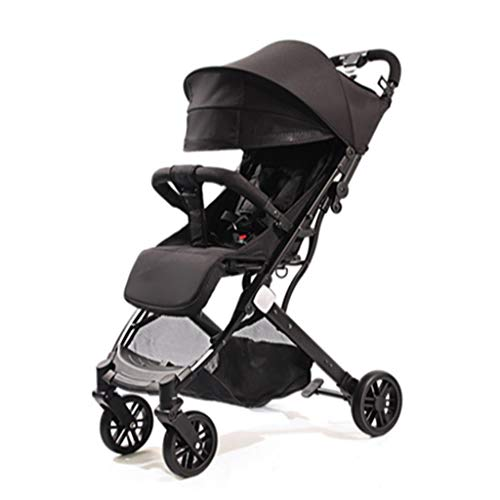 Baby carriage Newborn Stroller Is Ultra-light And Foldable, Can Sit And Lie Down, And Can Be Taken On The Plane With High Landscape Pushchairs travel (Color : Black)