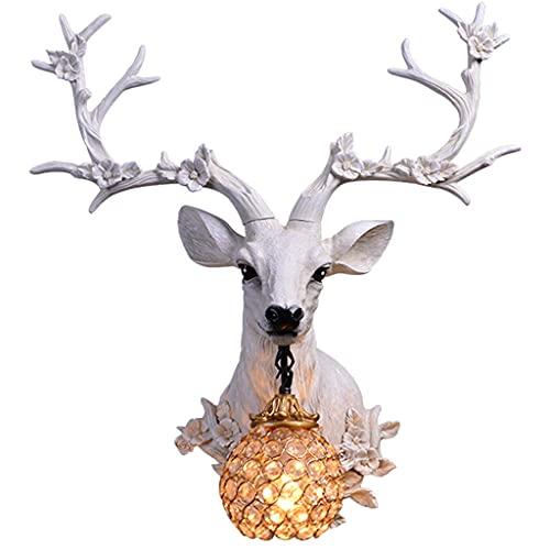 Lampada da Parete con Corna Fortunata Decorazione da Parete Creativa retrò Americana Lampada da Parete con Testa di Cervo da Parete di Sfondo (Color : Bianca, Size : 51 * 60cm)