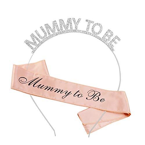 HOWAF Echarpe Mummy to Be et Bandeaux Couronne, Baby Shower Écharpe Future Maman, Baby Shower décoration Accessoires Maman Cadeau, Or Rose