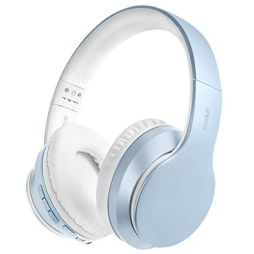 Auriculares Inalámbricos Bluetooth Diadema, Cascos Cerrados Inalambricos MicróFono Incorporado, Plegables Alta Fidelidad Estéreo Auriculares para PC/ MP3/Móviles/TV(Azul Liso)