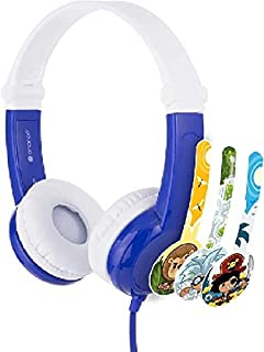 BuddyPhones - Connect Foldable On-Ear Wired Headphones - For Kids Portable Headset Volume Limiting Children Headphones - For School, Home, Travel (Blue)