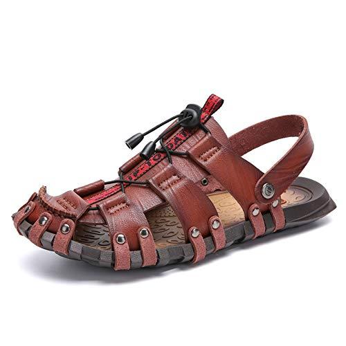 CDYEGSJ Sandalias de Moda for Hombre Casual Verano Nuevo OX Cuero Antideslizante Resbalón de Doble propósito Remache Refuerzo (Color : Black, Size : 44 EU)