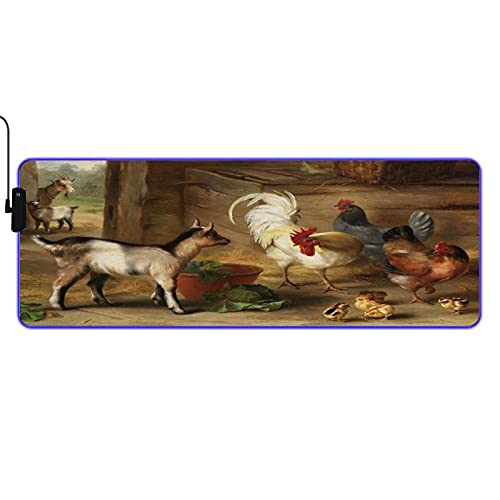 NOLYXICI RGB Gaming Mouse Pad Large Extended Soft Led Mouse Pad,Baby Goats in A Barn and Chickens Farm Animals,Non Slip Rubber Base Computer Keyboard Mousepads Mat,for Gaming and Work 31.5x11.8in