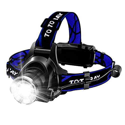 Headlamp, Super Bright LED Headlamps 18650 USB Rechargeable IPX4 Waterproof Flashlight with Zoomable Work Light, Hard Hat Light for Camping, Hiking, Outdoors (Blue)