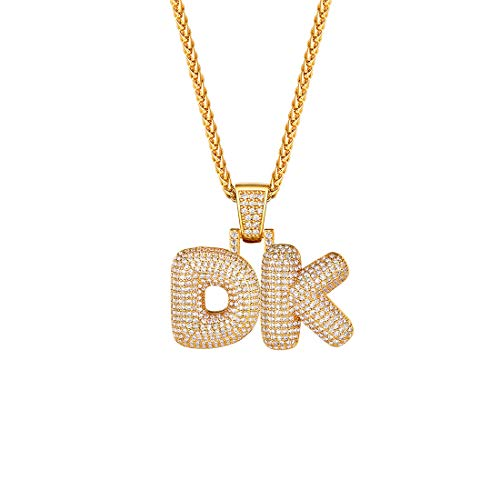 Customized Iced Out Bubble Letter Necklace DIY Spiga Rope Chain or Tennis Chain 18-30 Inch and 2 Gold Bling CZ Lab Diamond Capital Initials Letter Pendant Men Women Hip Hop Jewelry, Send Gift Box