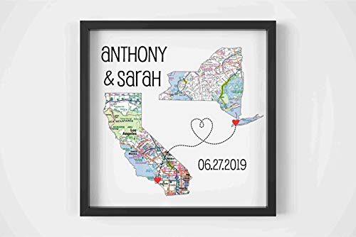 Custom Wedding Couple Heart Map Art Print, FRAMED ART, Wedding gift, Personalized & Customized, Engagement Gift, Anniversary Gift, Valentines day gift, Housewarming gift, Bridal shower gift