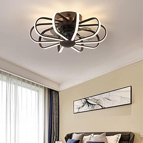 Hmvlw Ventilador de Techo con luz Simple Sala de Estar Lámpara de Ventilador Hotel Restaurante Habitación LED Lámpara de Ventilador Dormitorio Silent Nordic Fan Lamp (Color : Black)