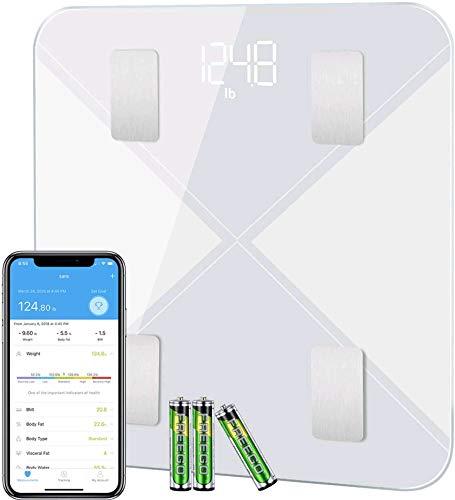 Bilancia Pesa Persona Digitale, Mpow Bilancia Pesapersone Impedenziometrica Diagnostica Bluetooth Wireless Digitale Misura con 13 Indici Peso,Grasso, Massa Muscolare, BMI, BMR, App per IOS e Andriod
