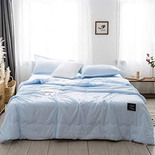 XYQS 1/3/4 colcha de verano para aire acondicionado, manta azul, blanco, gris, color sólido, 150 x 200 cm, 200 x 230 cm, ropa de cama para el hogar (color: 3, tamaño: king 4 piezas)