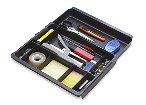 Exacompta 316014D Schubladen-Einlage Drawinsert (mit 4 abnehmbaren Flügeln, 100% aus Recycling-Kunststoff, für Schubladen) 1 Stück schwarz
