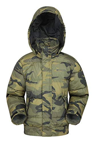 Mountain Warehouse Printed Outlander Kids Padded Jacket - Hooded Boys & Girls Puffer Jacket, Pockets, Warm & Cosy Winter Coat - Ideal for Walking, Travelling & Hiking Khaki 5-6 Years