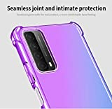 GOGME Case for Huawei P smart 2021 Case, Gradient Color Ultra-Slim Crystal Clear Anti Smudge Silicone Soft Shockproof TPU + Reinforced Corners Protection Phone Cover (Purple/Blue)