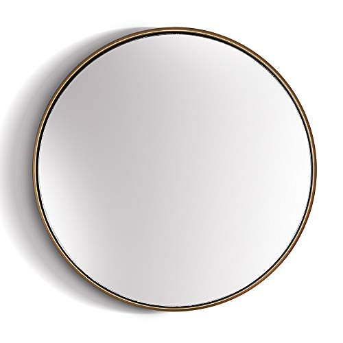 Elegance by Casa Chic – Gran Espejo de Pared Metálico – 40 cm de diámetro – Metal Galvanizado – Oro
