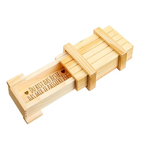 Casa Vivente Magische Geschenkbox – Schmuckkästchen mit Gravur – Du bist das Beste – Puzzle-Box aus Holz – Hell – Geschenkidee zum Valentinstag und Geburtstag – Geschenk für Frauen und Männer