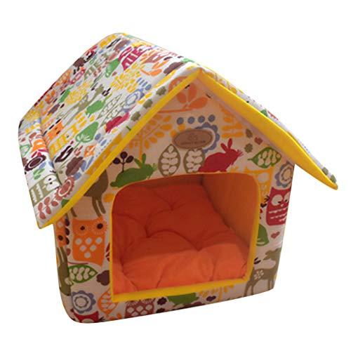 Yowablo Tragbares Innenhaustierbett Hundehütte Weiches, warmes und Komfortables Katzenhundesüßes Zimmer (40 * 35cm,D)