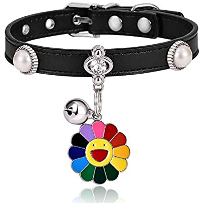 Freewindo Cat Collar with Bell and Pendant, Soft PU Leather Adjustable Small Dog Collar for Cats and Puppies (S, Black)