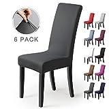 Stuhlhussen 6Stück,Stretch-Stuhlbezug elastische moderne Husse Elasthan Stretchhusse Stuhlbezug Stuhlüberzug.bi-elastic Spannbezug,sehr pflegeleicht und langlebig Universal-(6 StückSilber-Dunkelgrau)