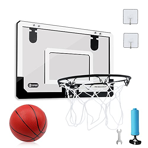 バスケットゴール 子供用 家庭室内・屋外 壁取り付 ミニバスケットボード玩具 45*30 ドア掛け式と壁掛け式 ダンクシュート可能 ボール付き レジャー ファミリースポーツセット ストレス解消 …