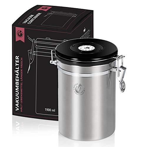 Vakuum Kaffeedose Teedose Vorratsdose - Vorratsbehälter Vakuumdose mit Aroma-Deckel Luftdicht