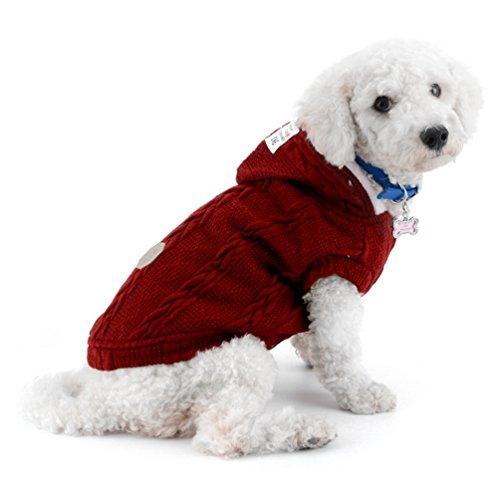 smalllee_lucky_store Sudadera de punto para perros con capucha y capucha cálida para perros pequeños, color rojo XL