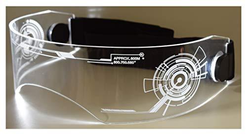 ASVP Shop Fursuit Kostüm LED Visier Brille Cyberpunk Cybergoth Goggles Cosplay Furries Furry - Weiß - Einheitsgröße