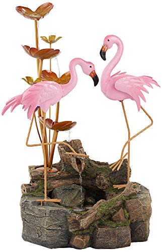John Timberland Oceanside Flamingos on Rock Outdoor Floor Water Fountain 28 1/4' High Cascading Leaves for Yard Garden Patio Deck