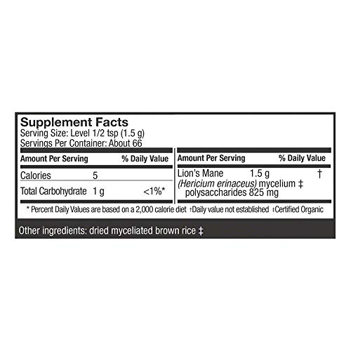 Host Defense, Lion's Mane Mushroom Powder, Supports Mental Clarity, Focus and Memory, Certified Organic Supplement, 3.5 oz (66 Servings) 9