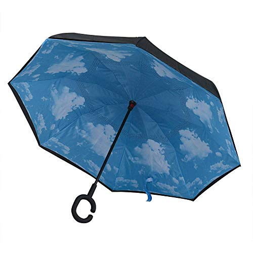 XCWQ dames paraplu moderne ondersteboven omgekeerde paraplu C-handvat dubbele laag binnenstebuiten kleuren