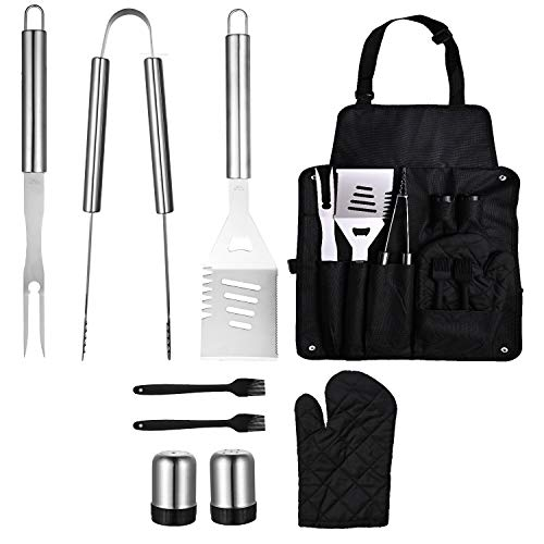 sphaiya BBQ Grill Tools Set,Long Handle,9pcs Stainless Steel Grill Utensils Kit - Locking Tongs, Spatula, Fork, Brush,Glove. Best Barbecue Grilling Accessories, Gift for Men Woman