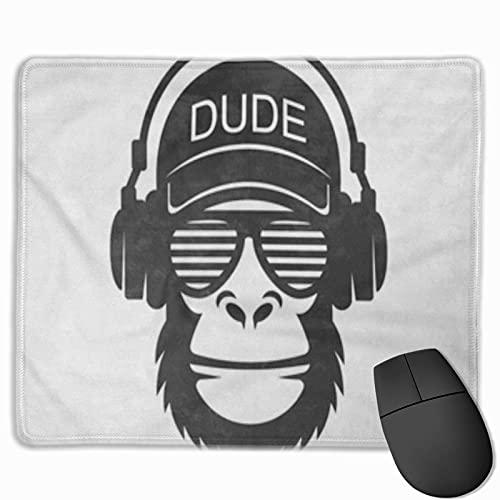 Gaming Mouse Pad, Premium-strukturierte Mouse Mat Pads, süßes Mousepad für Spieler, Büro- und Heimgorilla Cool Dude Monkey Brillen und Kopfhörer African Animal Ape