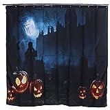 CHENQIAN Duschvorhang, Halloween Themen Kürbis Muster Wasserdicht Duschvorhang Badezimmerbedarf 188x188cm Bathroom