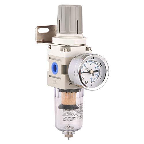 Hochwertig Wasserabscheider Druckluft Druckminderer Druckluftregler für Kompressor, 1/4 Zoll, Empfehlenswert! (1/4 Einteil)