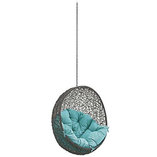 Modway Hide Wicker Rattan Outdoor Patio Swing Chair with Hanging Steel Chain in Gray Turquoise