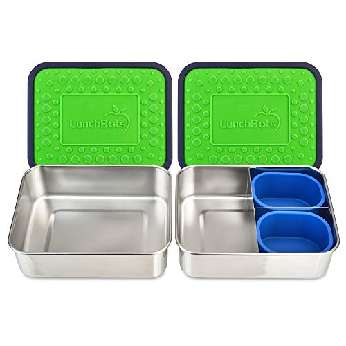 LunchBots Lite Bento Box Lunch Bundle – Includes Two Bento Boxes - One Section and Three Section Stainless Steel Containers and Silicone Cups - Eco-Friendly Dishwasher Safe BPA-Free - Green