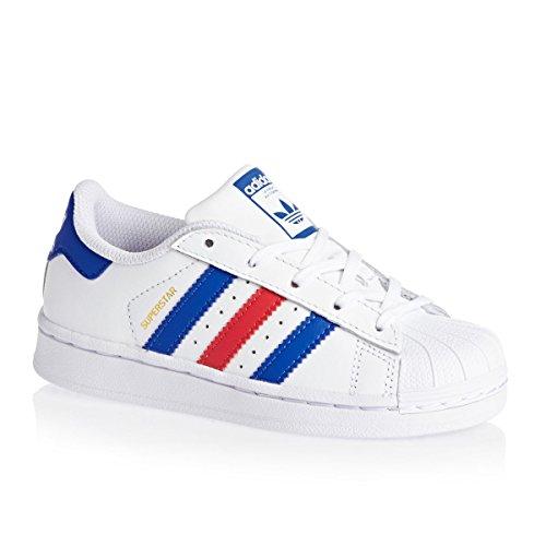 adidas Originals BUTY Adidas Superstar C, Punte per Le Dita. Bambino, Bianco, Blu, Rosso, 33 EU