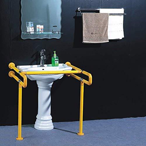 ZHFZD Roestvrij stalen leuning voor badkamer, platformovergrijpende wastafel, ouderwetse toiletgrijper voor badkamer (kleur: wit, maat: beenloos) With legs geel