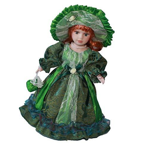 30cm Porzellan Mädchen Puppe Sammlerpuppe Standpuppe mit Prinzessinkleid, Handtasche, Hut und Ständer - Grün, B