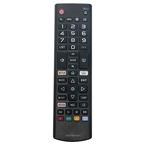 VINABTY AKB75675301 Telecomando di ricambio per LG 55UM71007 55UM71007LB 65UM7400 65UM7400PLB LG43UM7100 43UM7100 32LM6300 32LM6300PLA 43UM7100 43UM7100PLB 49UM7100 49UM7100PLB with Netflix Primevideo