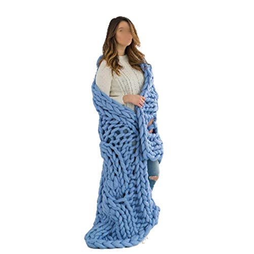Jlxl Manta de punto grueso, hecha a mano, con hilo voluminoso, para decoración de dormitorio, cama, sofá, alfombra de mascotas, alfombra nórdica, cama de regalo (color: azul claro, tamaño: 80 x 80 cm)