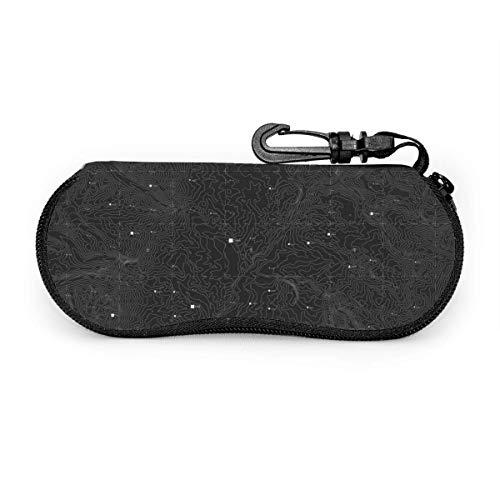 Arvolas Caja de anteojos portátil con mapa de placa de circuito topográfico negro oscuro, funda protectora para gafas resistentes a la abrasión