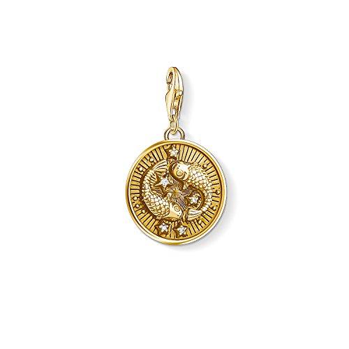 "Thomas Sabo - Colgante de Mujer ""Charm Zodíaco Piscis Charm Club"", Plata de Ley 925, baño de oro amarillo de 18 quilates, Dorado"