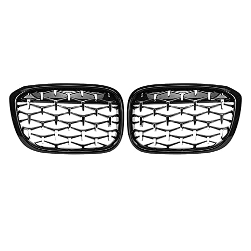 YYDM Nueva Diamante Parrillas, Meteor Estilo Reemplazar la Parrilla Delantera del Coche Parachoques de la Parrilla para BMW X3-X4 G01 G08 G02 2017-2020 Negro + Plata