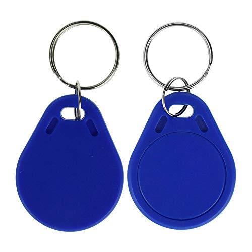 LIBO UID Cambiable Etiquetas clave RFID Escribir Programable Llavero 13.56MHZ ISO14443A Control de acceso Keyfobs, Color azul, Material de plastico (Paquete de 100)