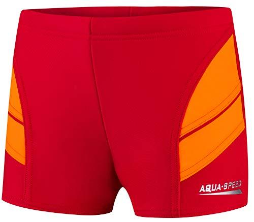 Aqua Speed Enge Boxer Badehose Jungen + gratis eBook | Wettkampf Schwimmhose für Kinder Jungs | UV Badebekleidung | 31. Rot Orange Gr. 128 | Andy
