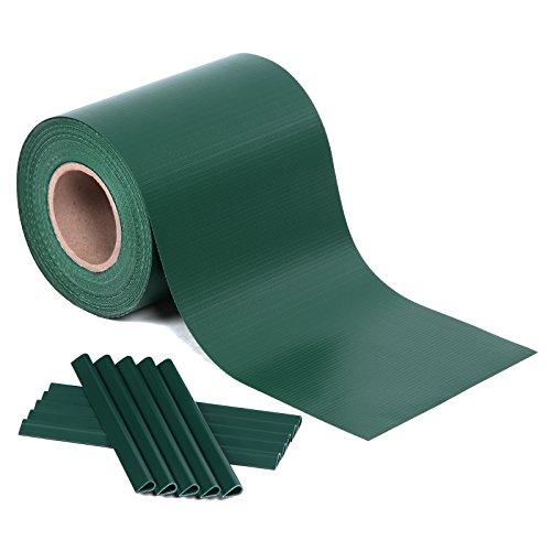 SONGMICS PVC Sichtschutzstreifen, Zaunfolie 40 m x 19 cm, extra dick und Blickdicht, mit 25 x Befestigungsclips, grün GPJ040L