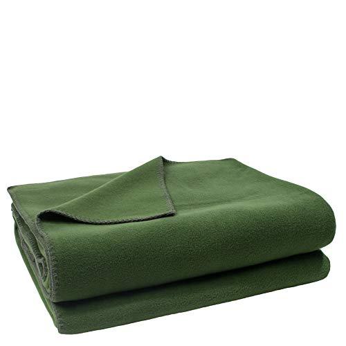Soft-Fleece-Decke – Polarfleece-Decke mit Häkelstich – flauschige Kuscheldecke – 110x150 cm – 661 dark jade – von 'zoeppritz since 1828'